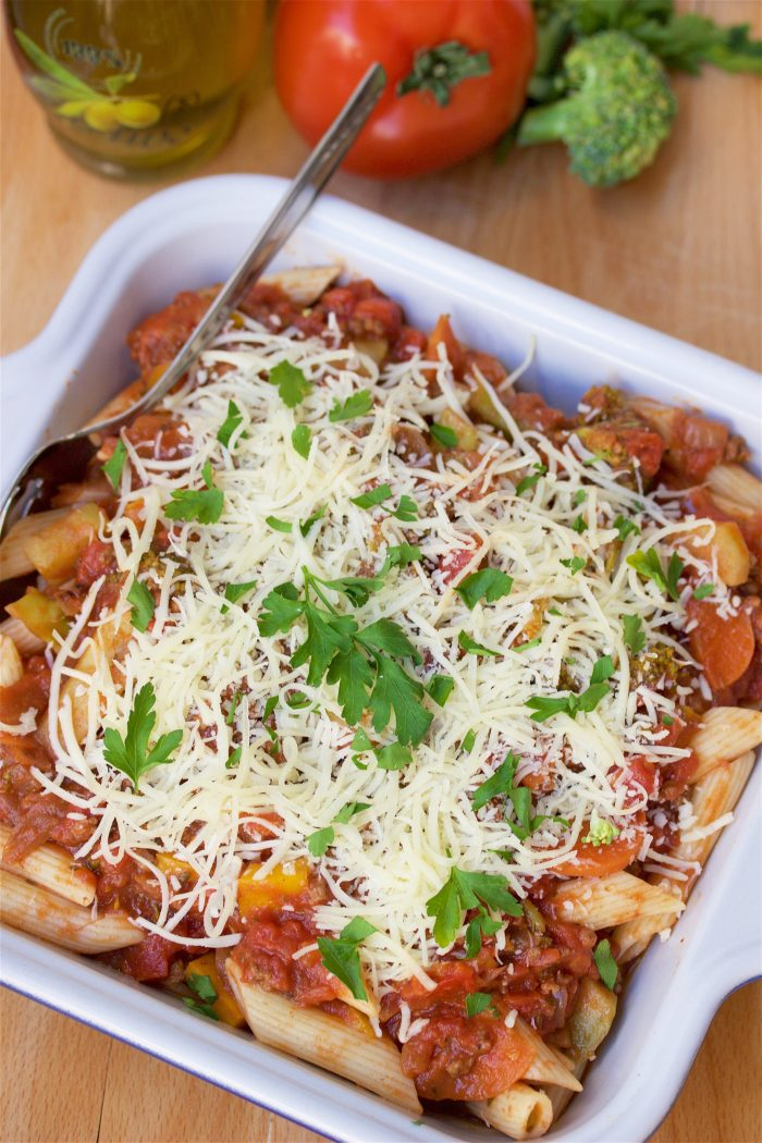 Our Mediterranean Pasta Bake & Mini Meatloaf Recipes are to quick and easy dinner recipe that only take 30 minutes from start to table! by cookingwithruthie.com