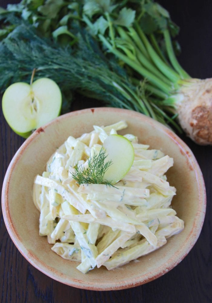 German Celery Root and Apple Salad with Dill Mustard Dressing and highlights from our recent trip to Hamburg, Germany! by cookingwithruthie.com