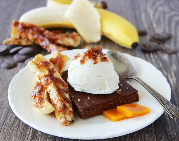 Chocolate Custard Cake With Caramelized Bananas Recipe is decadent chocolate dessert that's sure to delight every guest at your table! by cookingwithruthie.com