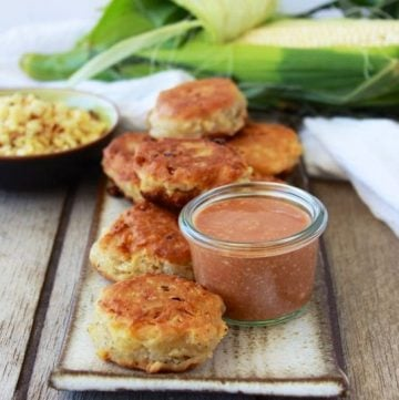 Corn Fritters Recipe are savory treat in the fall when all the farm fresh corn is available! by cookingwithruthie.com
