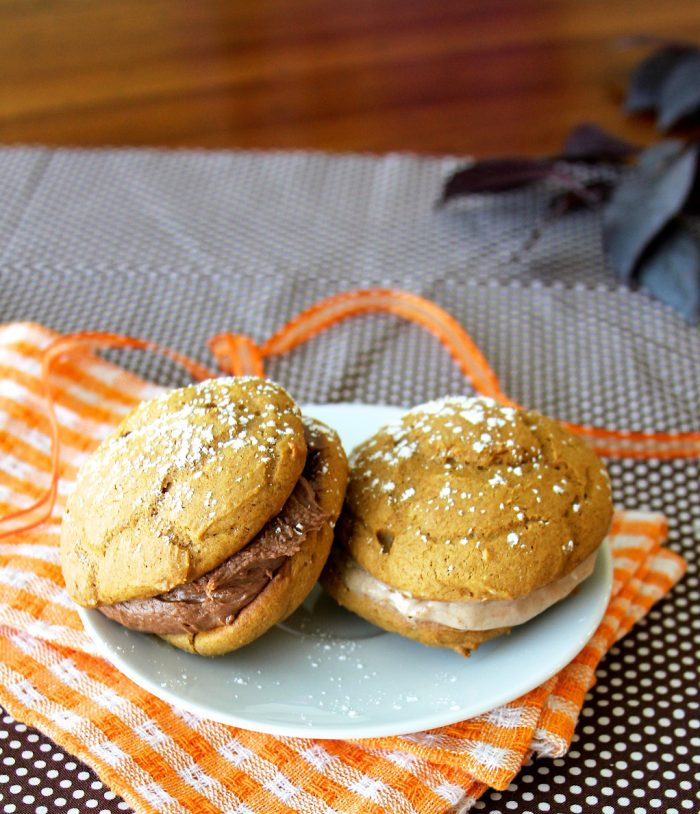 Pumpkin Spice Whoopie Pies with Nutella & Cream Cheese Filling Recipe is the best of autumn in a cookie! by cookingwithruthie.com