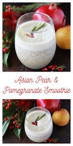 Asian Pear and Pomegranate Smoothie is a healthy and festive beverage for the holidays! This healthy smoothie recipe combines asian pear, pomegranate, low-fat kefir, and vanilla protein powder for a healthy start to your morning! || cookingwithruthie.com