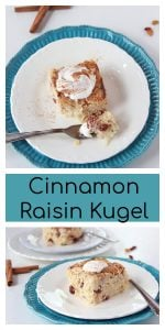 Cinnamon Raisin Kugel on www.cookingwithruthie.com is a favorite dessert at Hanukkah celebrations!