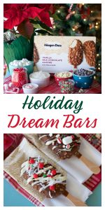 #ad Our Holiday Dream Bars Recipe is a festive holiday activity for the whole family! The sweetest part of this time of year is creating fun holiday memories together. Buy Haagen-Dazs at Sam's Club now! #HaveHappyOnHand #HolidayalaMode #HaagenDazsHoliday