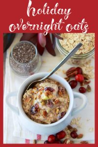 Our Holiday Overnight Oats Recipe are so simple to make and a delightful breakfast that we adore! These Holiday Overnight Oats are packed with so many healthy ingredients including whole grain oats, chia seeds, dried cranberries, golden raisins, apples, oranges, pecans, and pistachios! Talk about an awesome breakfast or snack to keep you fueled for hours. || cookingwithruthie.com #overnightoats #holidaybreakfast #holidayrecipes