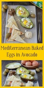 Our Mediterranean Baked Eggs in Avocado Recipe is a simple and healthy recipe for the whole family to enjoy! We think you'll agree that eggs baked in avocado halves are quite delightful with hummus, feta cheese, olive tapenade, and green olives on the side! Be sure to remember to grab a package of pita bread to bring all the fabulousness of the Mediterranean flavors together. || cookingwithruthie.com #eggs #breakfast #avocado