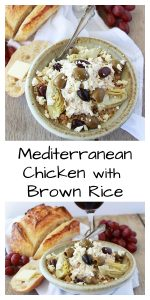 Our Mediterranean Chicken with Brown Rice Recipe is a slow cooker recipe that's been one of our go-to recipes for years and we know you'll adore it just as much as we do. This recipe uses chicken, dry Italian seasoning packets, neufatchel cream cheese then topped with feta cheese, artichoke hearts, and greek olives. || www.cookingwithruthie.com #MyCalphalonKitchen #CollectiveBias