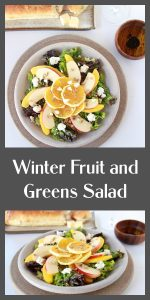 Our Winter Fruit and Greens Salad Recipe is a lovely combination of fruits and vegetables to keep you healthy and happy this winter! Our winter salad has mixed greens, apples, oranges, mangoes, chevre cheese, sunflower seeds, and a drizzle of olive oil. Oh, and if you prefer an added flavor pop, then a little drizzle of balsamic vinegar will do the trick! || cookingwithruthie.com #saladrecipe #wintersalad