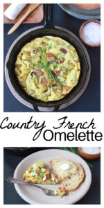 Our Country French Omelette Recipe is a savory breakfast that the whole family will enjoy! Our french country omelette is fully loaded with eggs, bacon, yukon gold potatoes, shallot, and chives! This easy omelette recipe starts on the stove and pops in the oven to finish baking. We promise you'll love it!    cookingwithruthie.com #frenchcountryomelette #omeletterecipe