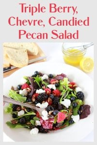 Triple Berry Chevre Candied Pecan Salad Pin 2