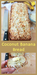 Over-ripe bananas are the secret to banana bread and the more over-ripe they are, the better they are in my book! They add that awesome banana flavor plus a lot of moisture to this lovely loaf. || cookingwithruthie.com #coconutbananabread #bananabread #gramsrecipe