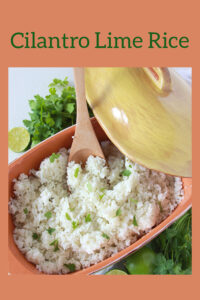 Cilantro Lime Rice Recipe is a tasty side dish to add to your dinner to your tonight! Take ordinary rice to the next level with our cilantro rice. It's wonderful for your Cinco de Mayo celebrations! || cookingwithruthie.com #cilantrolimerice #rice #side dish #cincodemayo