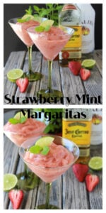 Strawberry Mint Margaritas Recipe   Our Straberry Mint Margaritas are a refreshing beverage for all your summer gatherings plus the perfect strawberry cocktail for your Cinco de Mayo fiesta this year! This margarita combines fresh strawberries, tequila, malibu carribean rum, lime juice, agave, and fresh mint bringing you a fabulous flavor.    cookingwithruthie.com #cincodemayo #summermargaritas #margaritas #strawberrymargarita #tequila