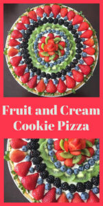 Today's Fruit and Cream Cookie Pizza Recipe is a sugar cookie crust topped with a cream cheese, whipped cream filling, and fresh fruit! Cookie pizza recipes are like edible art and a stunning addition to any gathering! Our whipped cream pizza is perfect for your summer soiree or any event you're hosting. || cookingwithruthie.com #fruitpizza #springrecipe #bestdessert #summerdessert