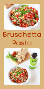 Today's Bruschetta Pasta Recipe is a refreshing pasta dish that's simple to make and tastes amazing! If you love olive oil pasta then we are going to make it even that much better by adding some fresh tomatoes, basil, and parmesan cheese! cookingwithruthie.com #pastarecipe #simpleanddelicious