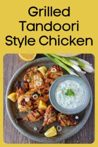 Today's Grilled Tandoori Style Chicken Recipe tastes just like it's from a restaurant only made at home! We make it easy to get the same taste without the tandoor oven. Our recipe is made with lemon, ginger, sour cream yogurt and more. #grilling #summerrecipe || cookingwithruthie.com