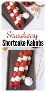 Today's Strawberry Shortcake Kabobs Recipe will bring smiles to your family gatherings this summer! Our strawberry angel food cake kabobs with whipped cream are fun and simple to make. Enjoy our no bake strawberry shortcake creation! cookingwithruthie.com #summerrecipe #kabobs #strawberrykabobs