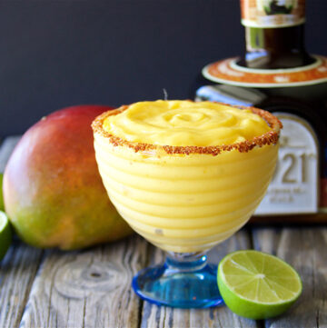 Creamy Mango Margarita Recipe is refreshing margarita recipe made with Mexican Cream Tequila!by cookingwithruthie.com