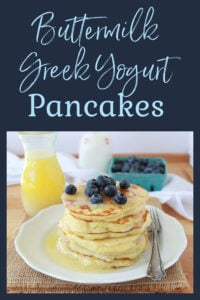 Today's Buttermilk Greek Yogurt Pancakes Recipe are fluffy and moist even without a drop of oil in the recipe! For this recipe you will need buttermilk, sea salt, coconut sugar, greek yogurt (of course), and a few more ingredients. || cookingwithruthie.com #pancakesrecipe #breakfastrecipe #buttermilkpancakes #greekyogurt