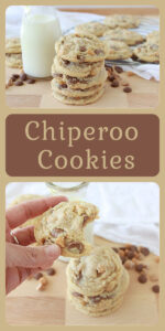 Today's Chiperoo Cookies Recipe are the perfect way to welcome home the kids from school! Chocolate Chip Cookies and a tall glass of milk will make their day. Our chiperoo cookies have three chips–-milk chocolate, peanut butter, and butterscotch all wrapped up in one fabulous dough!    cookingwithruthie.com #cookierecipe #cookiedough #chocolatechipcookies