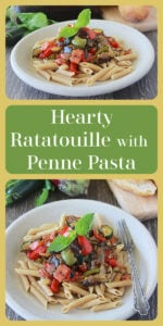 Our Hearty Ratatouille with Penne Pasta Recipe is a delight with the garden fresh vegetables available this time of year! Today's penne ratatouille is made with onions, garlic, peppers, eggplant, zucchini, tomato, and basil! A savory masterpiece. || cookingwithruthie.com #ratatouille #pennepastarecipe #italianfood #italianrecipe
