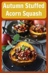 Our Autumn Stuffed Acorn Squash Recipe is filled with all the aromas and flavors of autumn! Today's acorn squash and sweet potato recipe is a hearty vegetarian recipe, packed with healthy ingredients like squash, sweet potatoes, apples, cranberries, nuts.... and for sure will be a new favorite! || cookingwithruthie.com #squashrecipe #autumnrecipe #healthyrecipe #fallrecipe #acornsquash #stuffedsquash